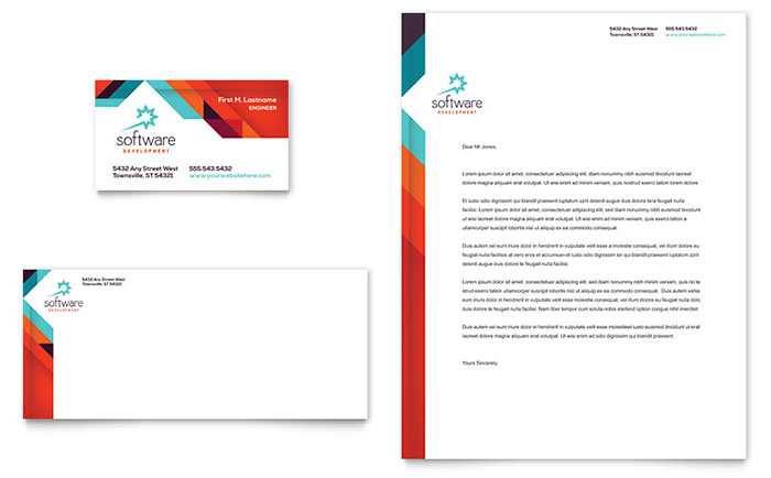 Application Software Developer Business Card & Letterhead Template - Word & Publisher