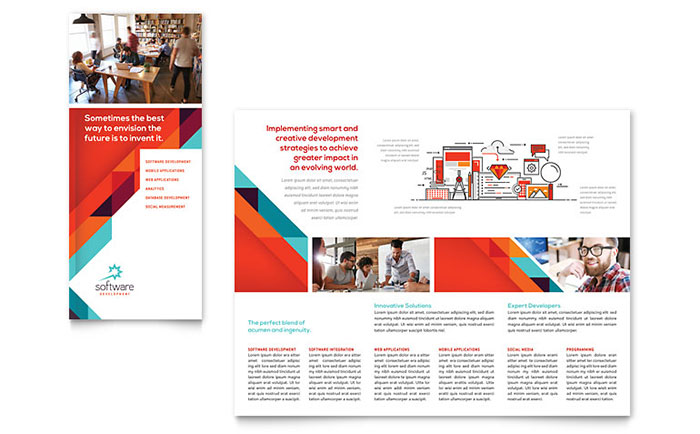 Application software developer tri fold brochure template for Microsoft publisher templates brochure