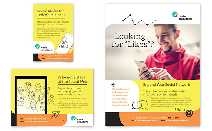 Social media consultant flyer ad template word publisher for Social networking sites free templates download
