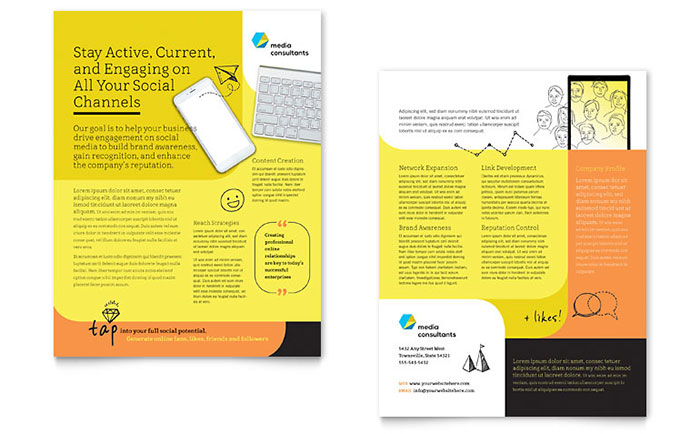 Social Media Consultant Datasheet Template - Word & Publisher