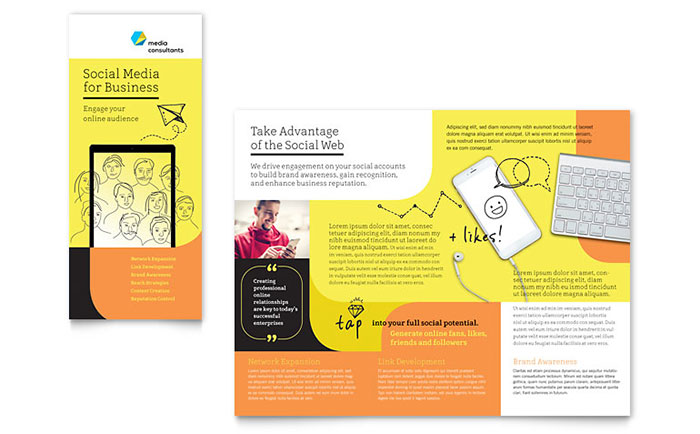 microsoft office tri fold brochure template - social media consultant tri fold brochure template word