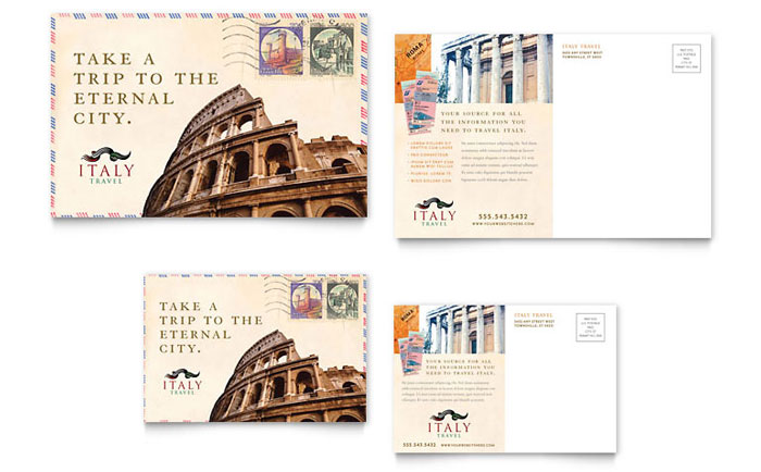 Italy travel postcard template word publisher for 6x4 postcard template