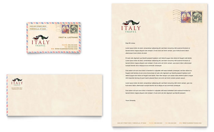 Italy Travel Business Card & Letterhead Template - Word & Publisher