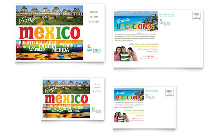 Mexico Travel Postcard Template - Word u0026 Publisher