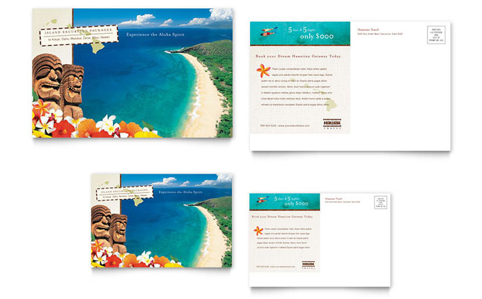 Hawaii Travel Vacation Postcard Template - Word & Publisher