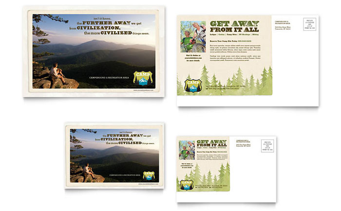 nature camping  u0026 hiking postcard template