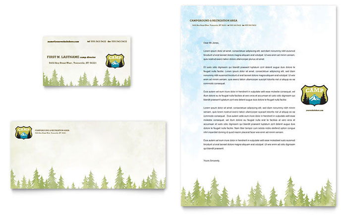 nature camping  u0026 hiking business card  u0026 letterhead