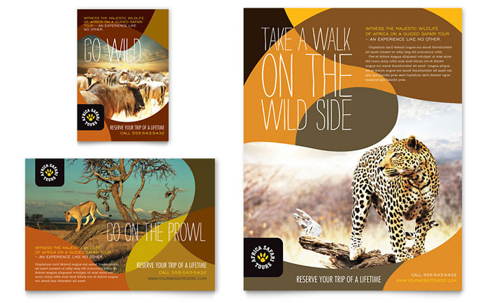african safari flyer  u0026 ad template