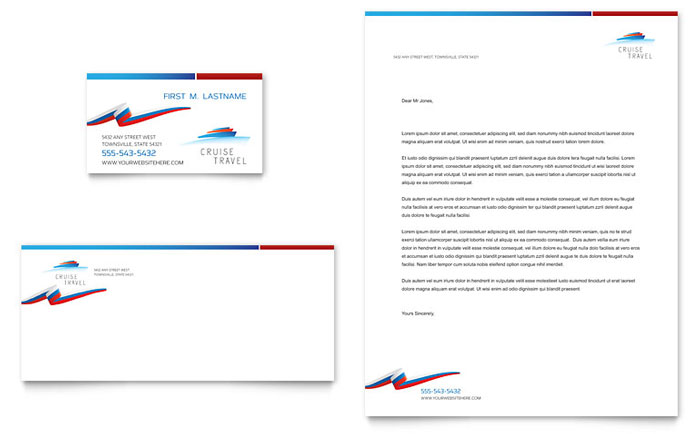 Cruise Travel Business Card & Letterhead Template - Word & Publisher