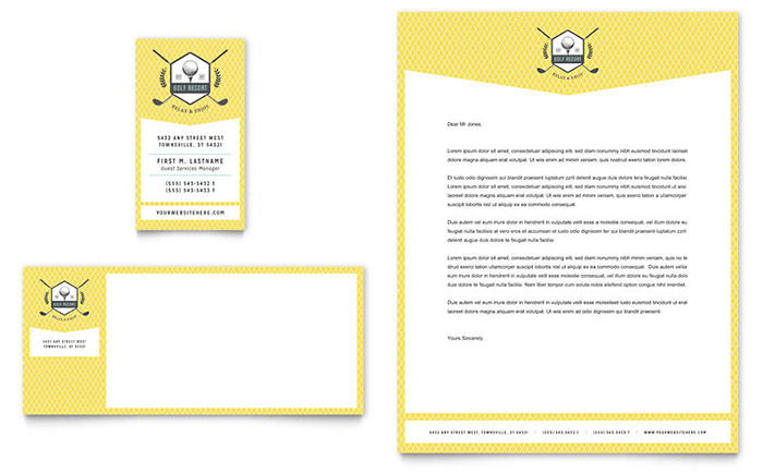 Golf Resort Business Card & Letterhead Template - Word & Publisher