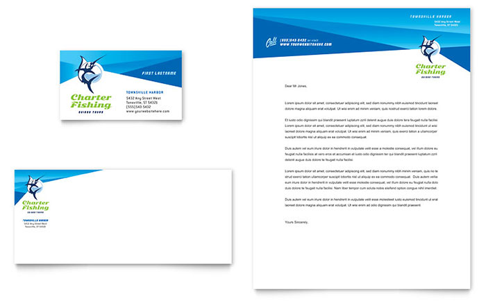 Fishing Charter & Guide Business Card & Letterhead Template - Word & Publisher