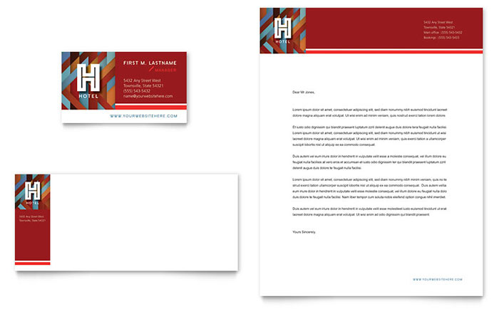 Hotel Business Card & Letterhead Template - Word & Publisher