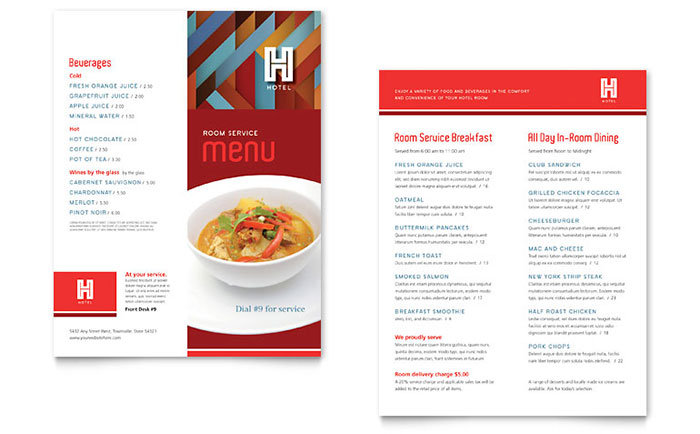 Hotel Menu Template - Word & Publisher