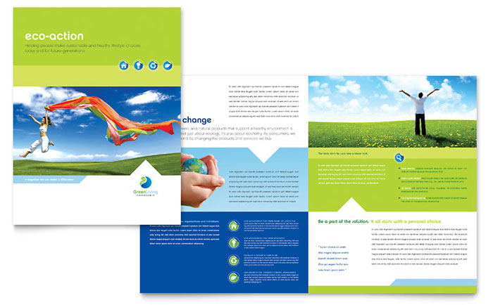 Green living recycling brochure template word publisher for Microsoft office publisher templates for brochures