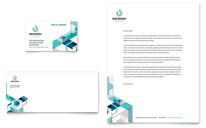 Oil & Gas Company Business Card & Letterhead Template - Word & Publisher