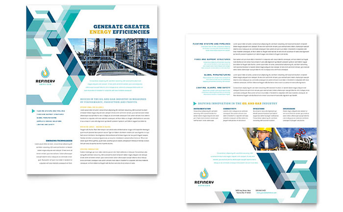 Oil & Gas Company Datasheet Template - Word & Publisher