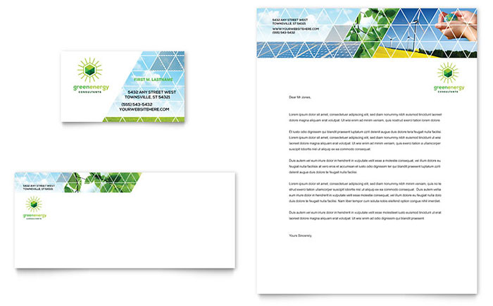 Green Energy Consultant Business Card & Letterhead Template - Word & Publisher