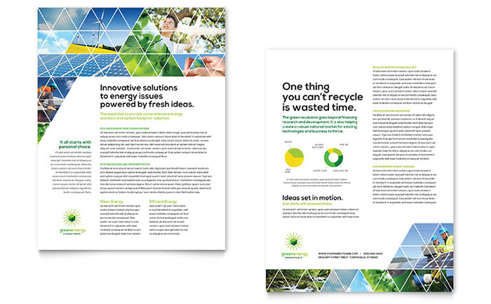 Green Energy Consultant Datasheet Template - Word & Publisher