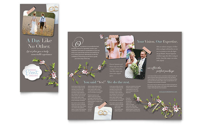 event brochure template - wedding planner brochure template word publisher