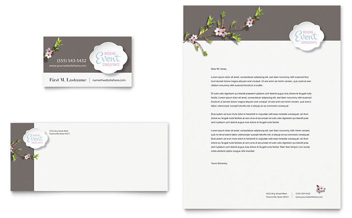Wedding Planner Business Card & Letterhead Template - Word & Publisher