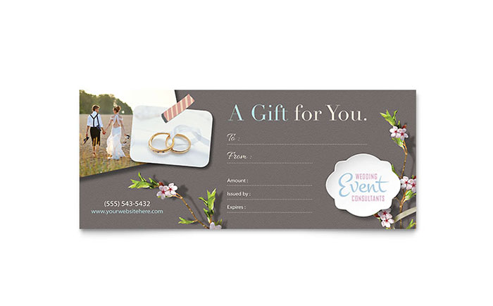 Wedding Planner Gift Certificate Template - Word & Publisher