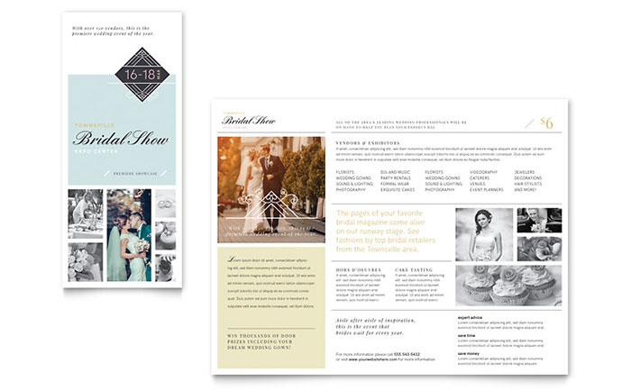 Bridal show tri fold brochure template word publisher for Publisher tri fold brochure templates free
