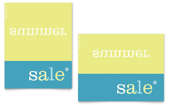 Inverse Upside Down Summer Sale Poster Template - Word & Publisher