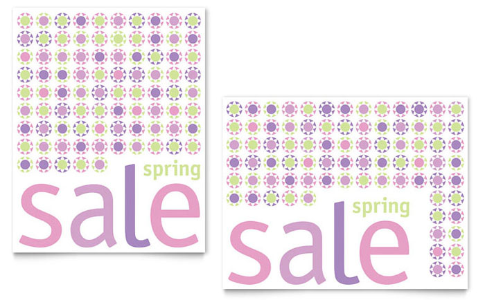Geometric Spring Color Sale Poster Template - Word & Publisher