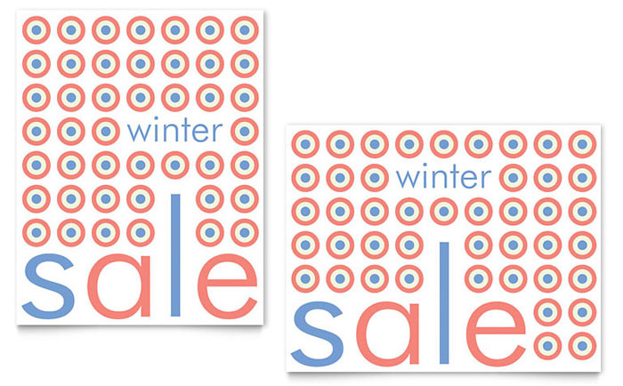Geometric Winter Color Sale Poster - Word Template & Publisher Template