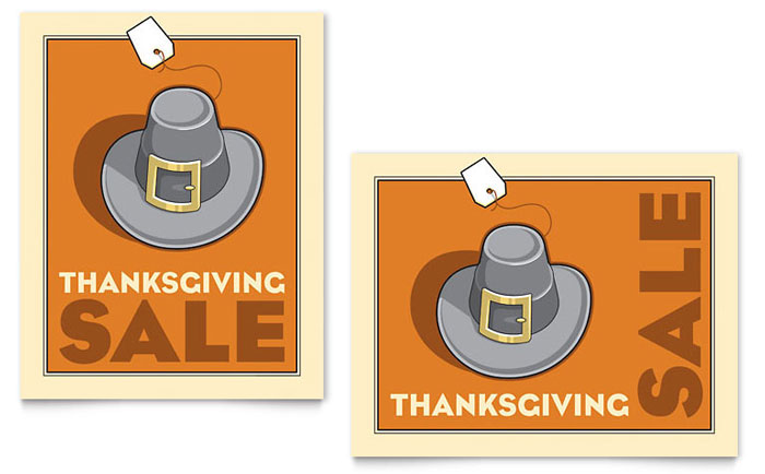 Thanksgiving Pilgrim Sale Poster Template - Word & Publisher