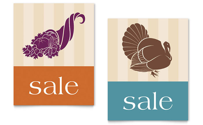 Thanksgiving Cornucopia & Turkey Sale Poster Template - Word & Publisher
