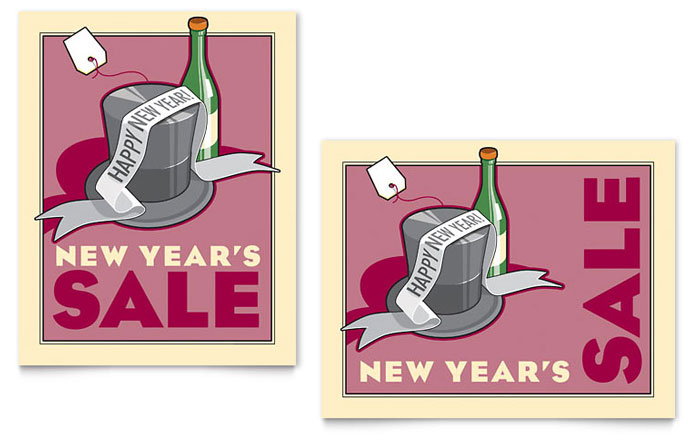 New Year's Champagne Sale Poster Template - Word & Publisher