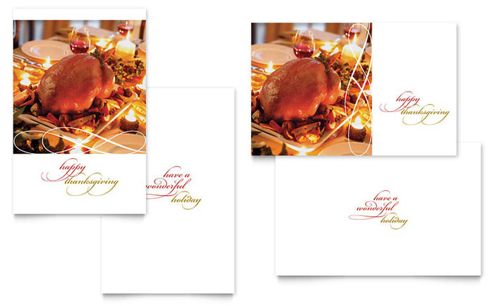 Happy Thanksgiving Greeting Card Template - Word & Publisher
