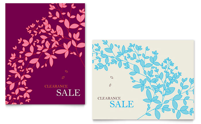 spring leaves sale poster template