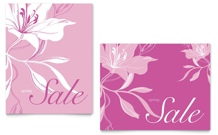 Pink Flowers Sale Poster Template - Word & Publisher