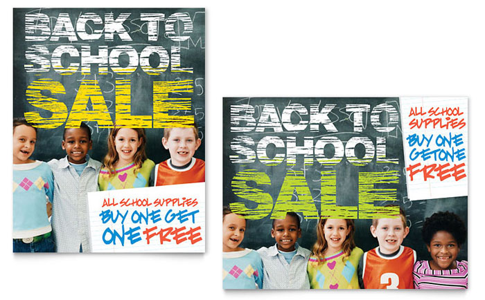 Back to School Sale Poster Template - Word & Publisher