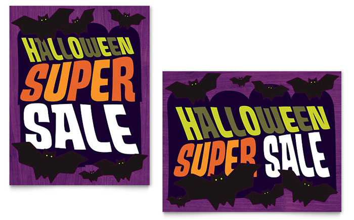 Halloween Bats Sale Poster Template - Word & Publisher
