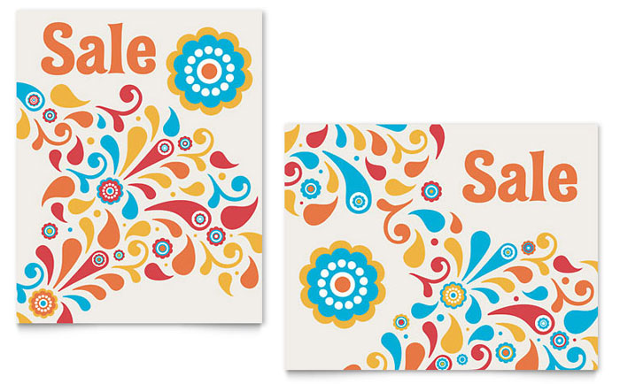 Summer Color Floral Sale Poster Template - Word & Publisher