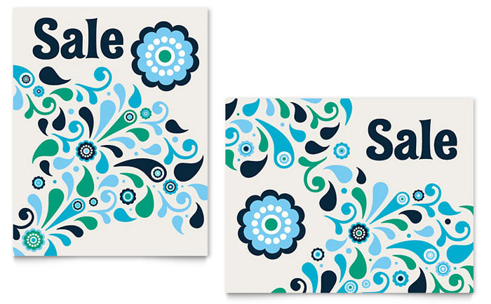 Winter Color Floral Sale Poster Template - Word & Publisher