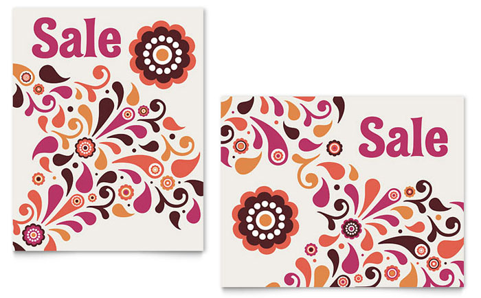 Fall Color Floral Sale Poster Template - Word & Publisher