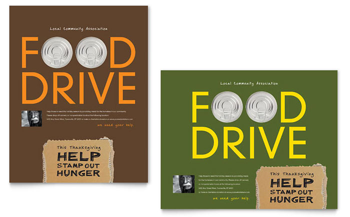 Holiday Food Drive Fundraiser Poster - Word Template & Publisher Template
