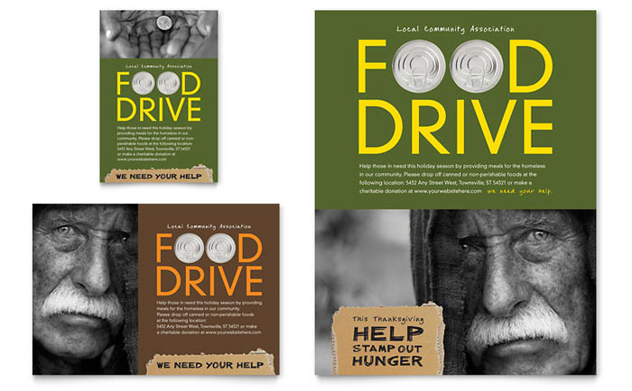 Holiday Food Drive Fundraiser Flyer & Ad - Word Template & Publisher Template