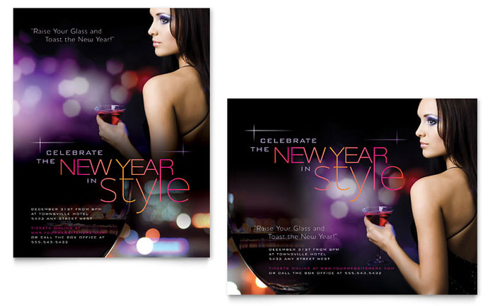 New Year Celebration Poster Template - Word & Publisher