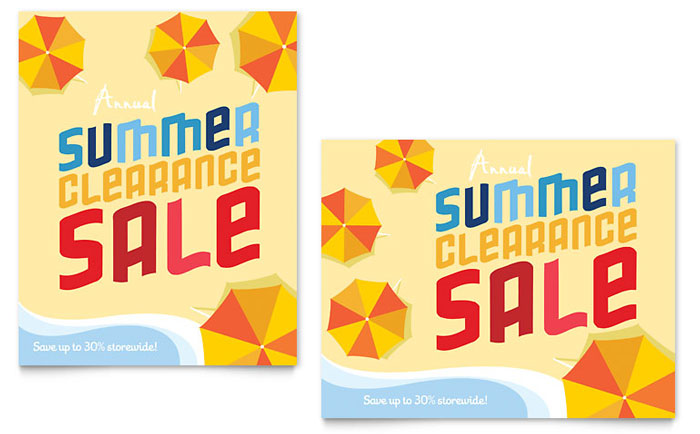 Summer Beach Sale Poster Template - Word & Publisher