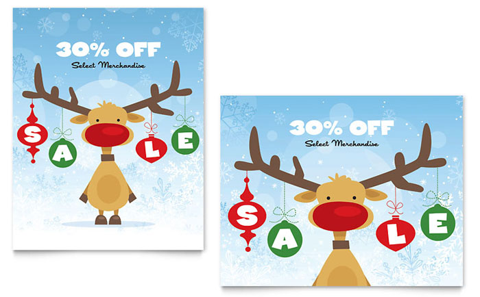 Reindeer Snowflakes Sale Poster Template - Word & Publisher