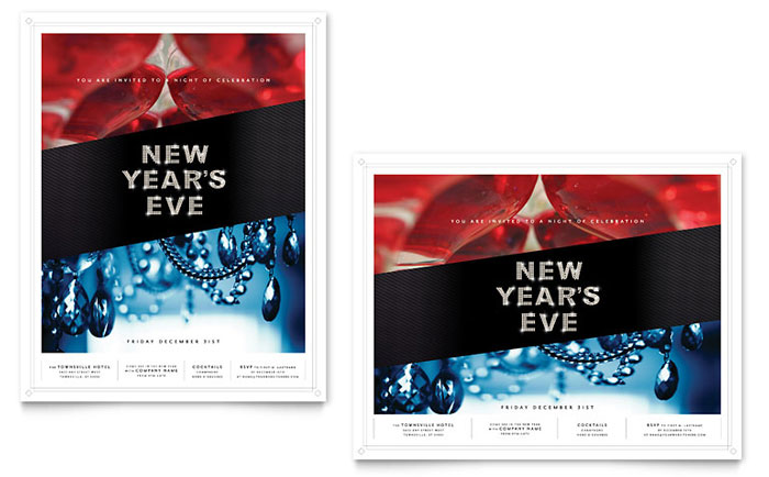 New Year's Eve Party Poster Template - Word & Publisher