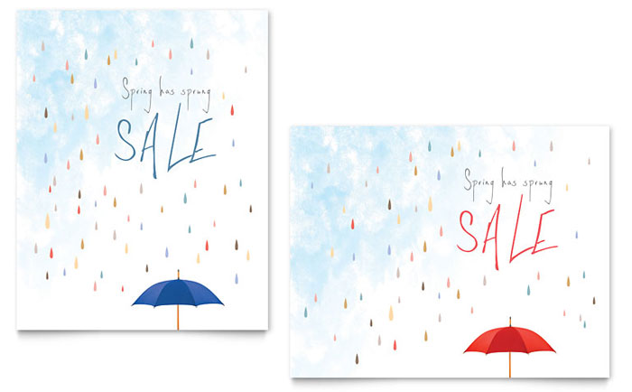 Rainy Day Sale Poster Template - Word & Publisher