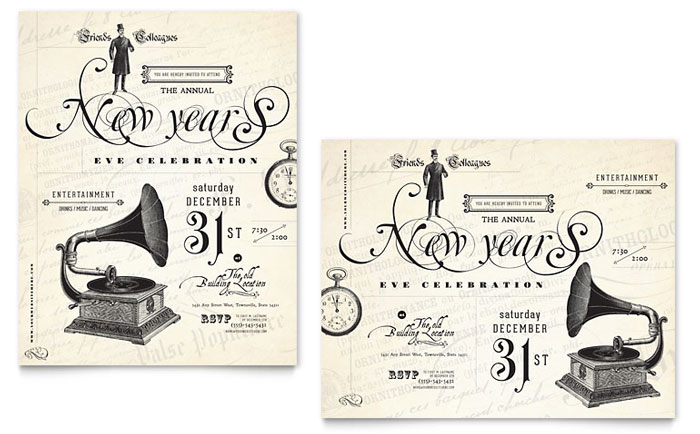 Vintage New Year's Party Poster Template - Word & Publisher