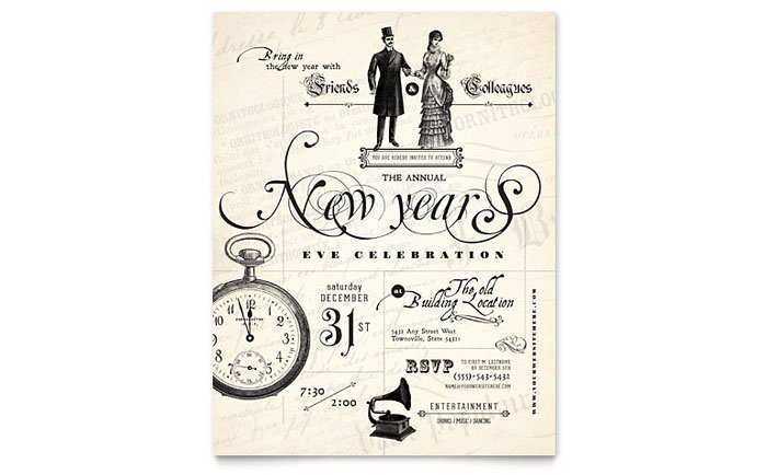 Vintage New Year's Party Flyer Template - Word & Publisher