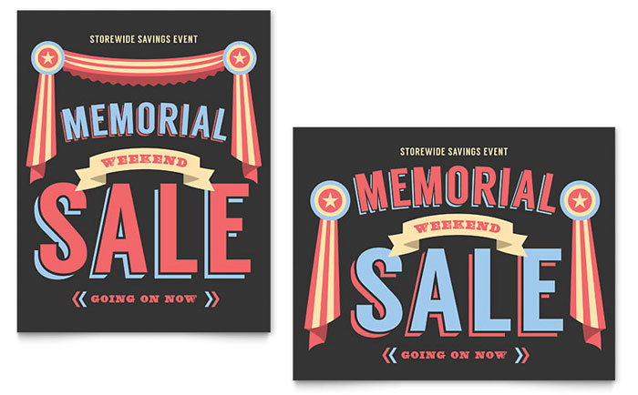 Memorial Day Sale Poster Template - Word & Publisher